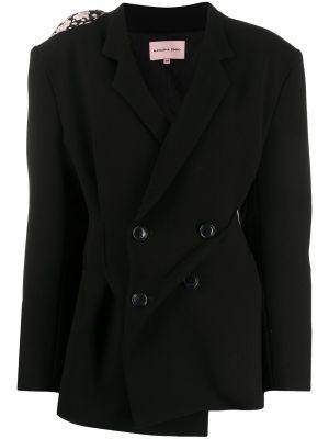 Шерстяной черный удлиненный пиджак двубортный Natasha Zinko