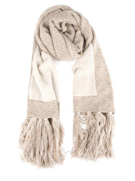 Бежевый шерстяной шарф с бахромой Le Tricot Perugia