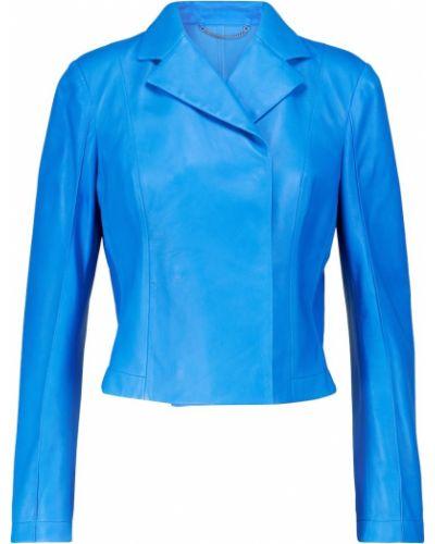 Укороченная кожаная куртка - синяя Salvatore Ferragamo