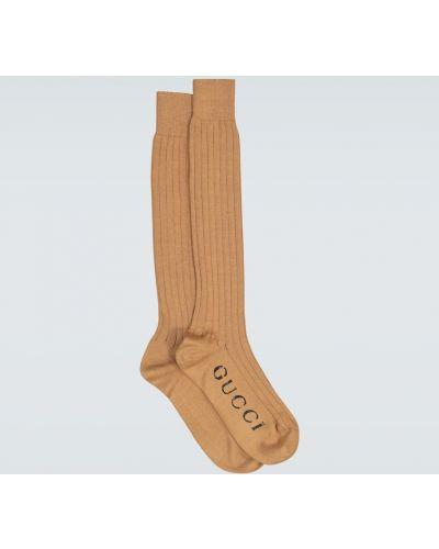 Ватные бежевые хлопковые носки Gucci