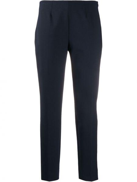 Синие брючные шерстяные брюки со складками Piazza Sempione