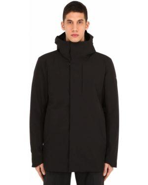 Czarny płaszcz z kapturem z nylonu Arcteryx