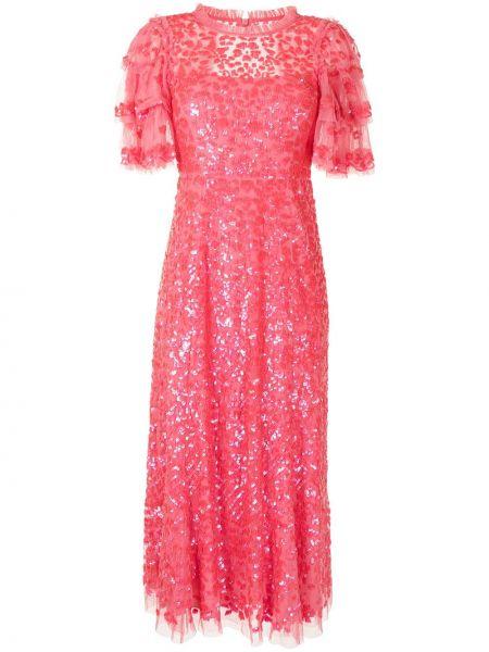 Розовое платье мини с пайетками Needle & Thread
