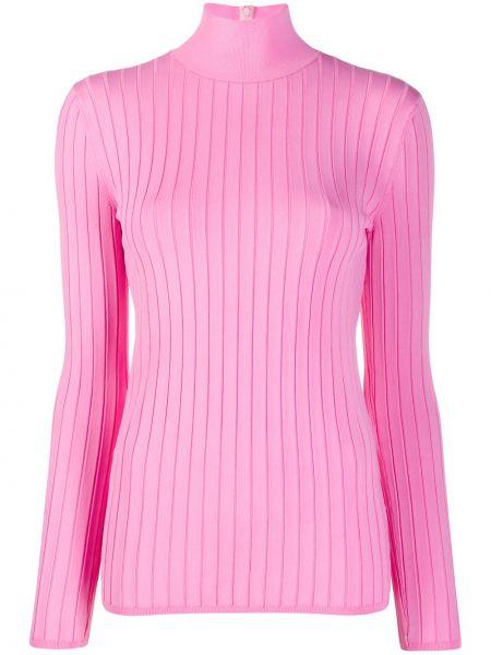 Розовый свитер на молнии в рубчик из вискозы Nina Ricci