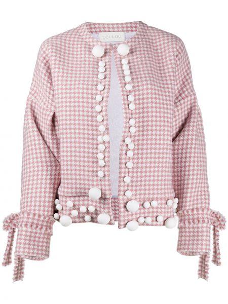 Шерстяной розовый удлиненный пиджак круглый Loulou