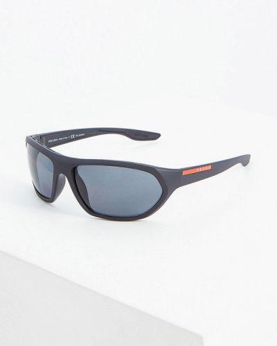 Солнцезащитные очки черные спортивные Prada Linea Rossa