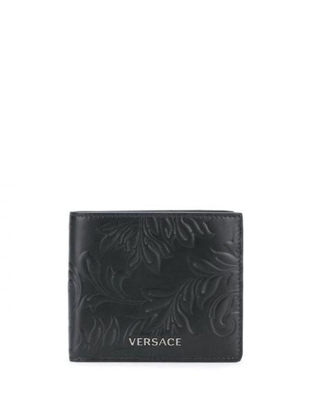 Srebro portfel z gniazdem z prawdziwej skóry wytłoczony Versace