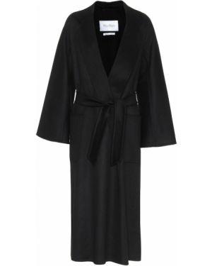 Кашемировое черное пальто с поясом Max Mara