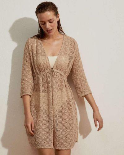 Пляжное бежевое платье Oysho