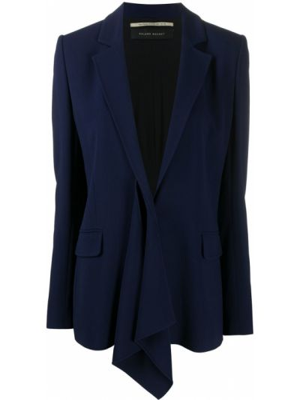 Шелковый однобортный синий удлиненный пиджак Roland Mouret