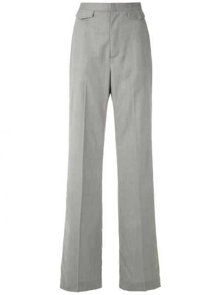 Шерстяные серые прямые брюки с карманами Reinaldo Lourenço