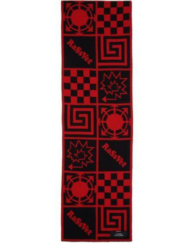 Шерстяной черный шарф прямоугольный с заплатками Rassvet