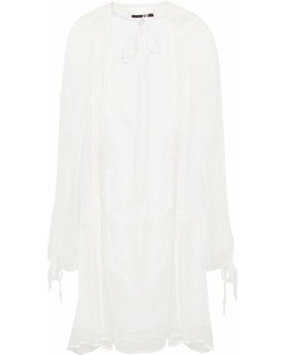Белое платье мини из вискозы с манжетами Mcq Alexander Mcqueen