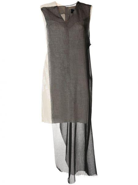Черное асимметричное платье миди без рукавов с вырезом Yang Li