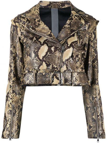 Коричневая кожаная куртка на молнии узкого кроя с карманами Omc