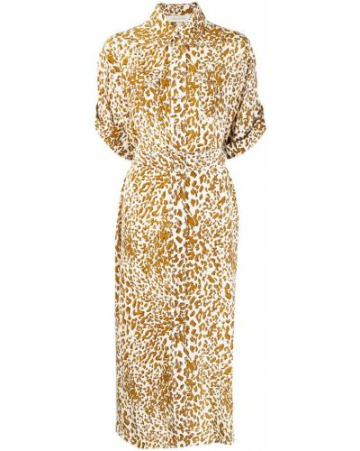 Платье с поясом на пуговицах леопардовое Zimmermann