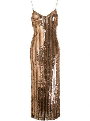 Тонкое облегающее платье с пайетками на бретелях с V-образным вырезом Galvan