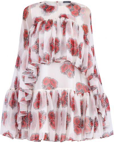 Платье с цветочным принтом с оборками Alexander Mcqueen