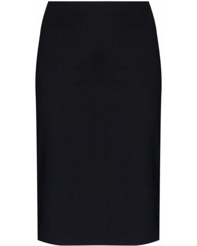 Хлопковая черная юбка миди на молнии с разрезом Coperni