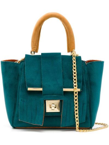 Синяя сумка на цепочке с бахромой Alila