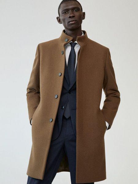 Коричневое шерстяное пальто с воротником Mango Man