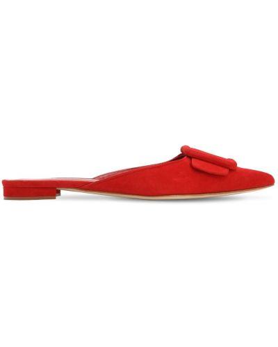 Замшевые красные туфли на каблуке Manolo Blahnik