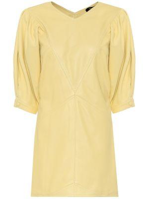 Платье мини кожаное желтый Isabel Marant