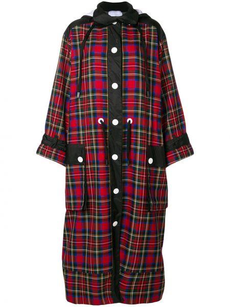 Пальто с капюшоном длинное в клетку No Ka 'oi
