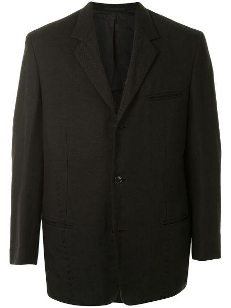 Черный пиджак на пуговицах с лацканами с карманами Yohji Yamamoto Pre-owned