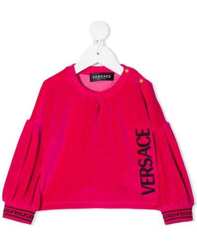 Bawełna różowy tunika z haftem okrągły Young Versace