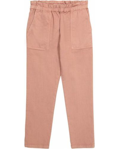 Хлопковые розовые брюки стрейч Bonpoint