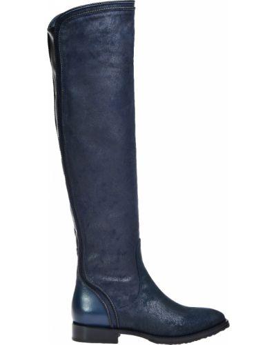 Ботфорты на каблуке кожаные синий Le Pepe
