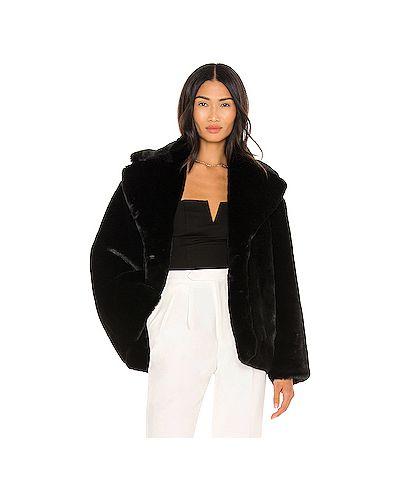 Черное пальто с карманами на крючках из искусственного меха Anine Bing