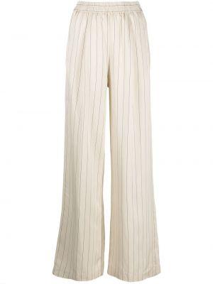 С завышенной талией белые брюки в полоску Nude