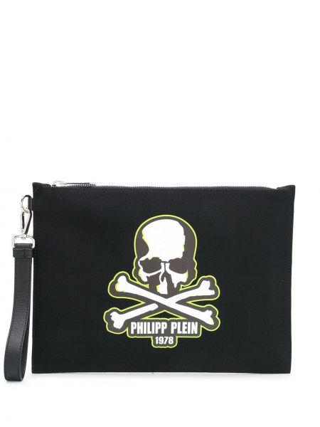 Кожаный черный клатч на молнии с черепами Philipp Plein