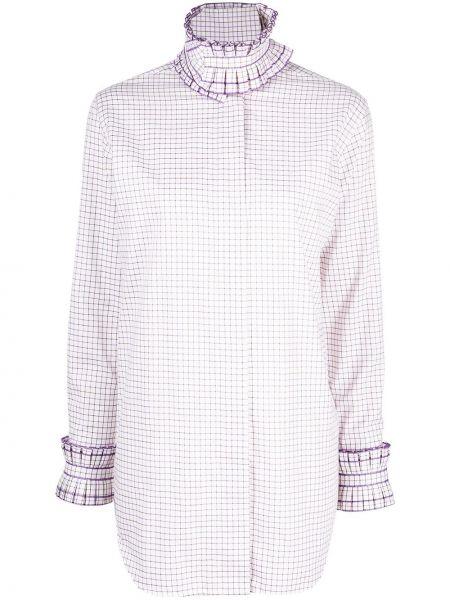 С рукавами рубашка в клетку с воротником Victoria Beckham
