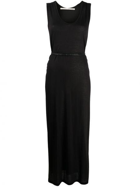 Черное прямое платье макси без рукавов с круглым вырезом Isabel Benenato