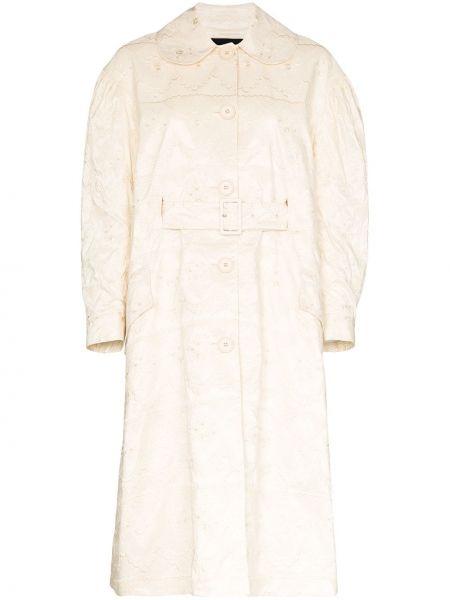 Biały płaszcz rozkloszowany Simone Rocha