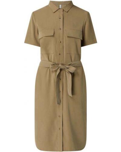Zielona sukienka mini z wiskozy krótki rękaw Soyaconcept