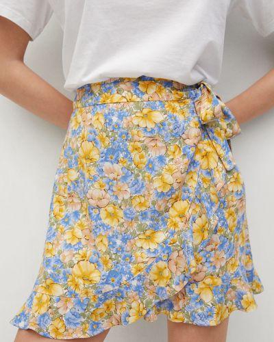 Niebieska spódnica mini w kwiaty z wiskozy Mango