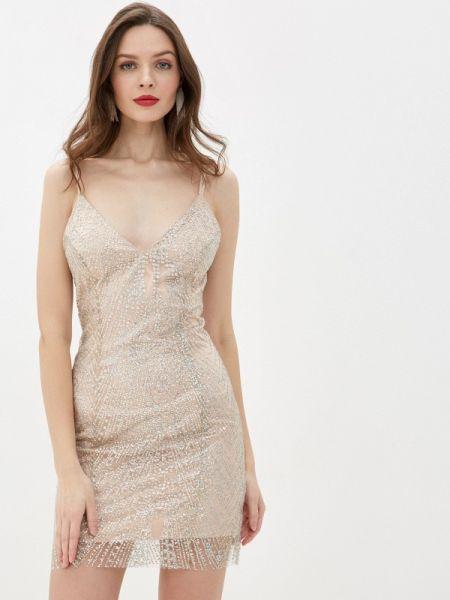 Вечернее платье осеннее бежевое Gepur
