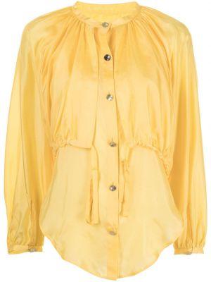 Желтая шелковая блузка с воротником Eudon Choi