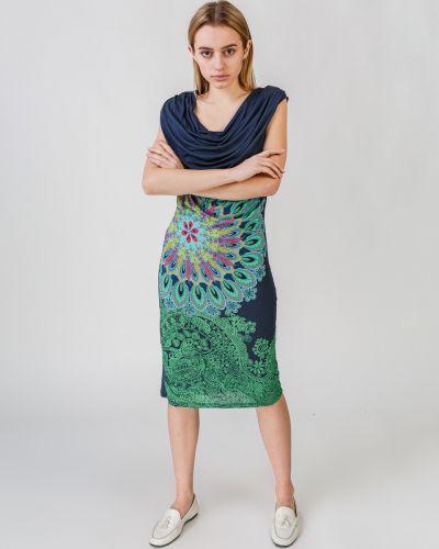 Бирюзовое платье макси Desigual