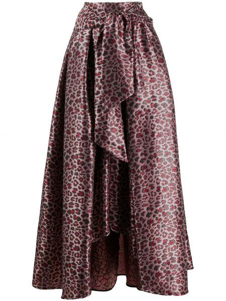 Różowa spódnica maxi z paskiem z printem Ultrachic