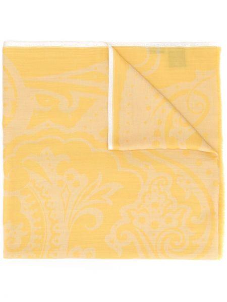 Желтый кашемировый платок квадратный Etro