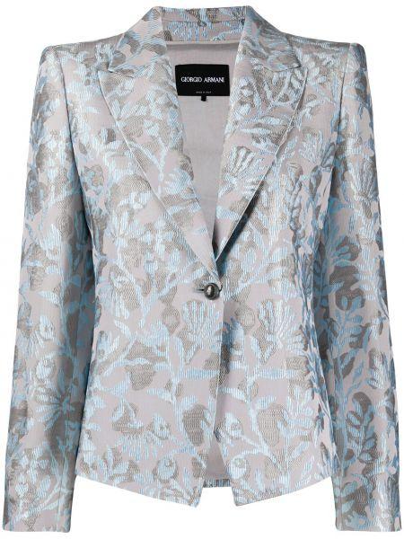 Шелковый однобортный синий пиджак Giorgio Armani