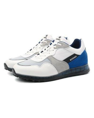 Комбинированные кожаные белые кроссовки Bogner