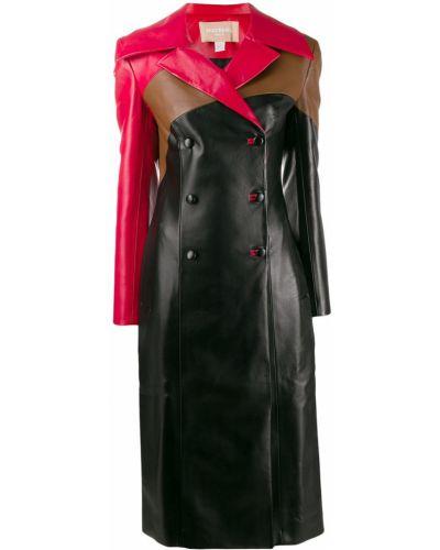 Черное кожаное длинное пальто с воротником Matériel