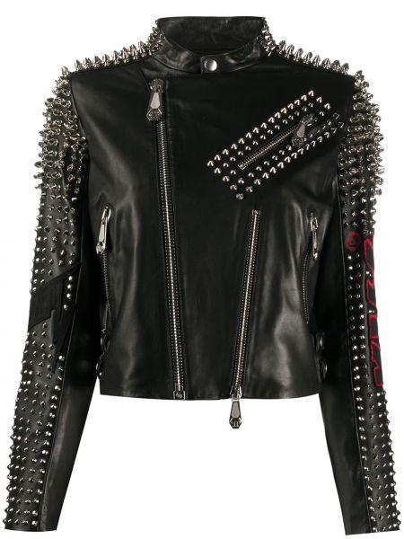Черная кожаная куртка байкерская из натуральной кожи Philipp Plein