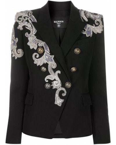 Шерстяной черный удлиненный пиджак двубортный Balmain